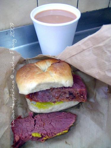 Salt Beef Beigel and a Cup of Builders Brew - Brick Lane Bakery