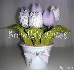 * Arranjo de Tulipas Lilás * (Sorella's Artes) Tags: tulipas patchwork tulipa lilas tecido arranjo