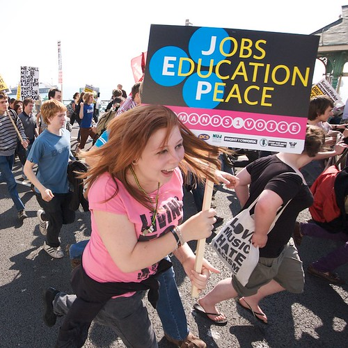 'Jobs, Education, Peace' - the demands set by the protest. Photo