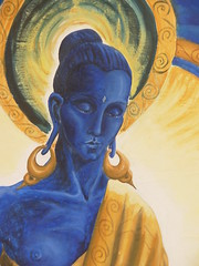 Buddhafield East Blue Buddha painting close up