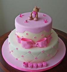 Baby Shower Cake (cakespace - Beth (Chantilly Cake Designs)) Tags: bear pink baby toronto cakes cake shower beth bow mississauga firstbirthdaycake babyshowercake personilizedcaketopper cakespacebeth braziliancakestoronto