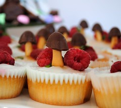 Woodland fairy cakes (toriejayne) Tags: mushroom cake woodland mint raspberry toadstool iced babyshower fairycakes chocolatebiscuittoadstools woodlandthemed