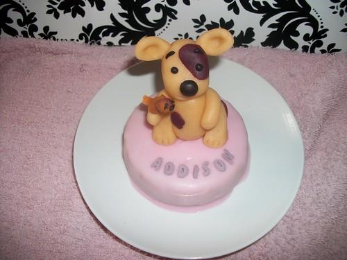 marzipan puppy on pink fondant