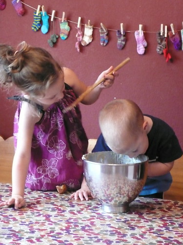 Daisy and Billy making muffins