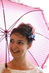 All-cotton purple and turquoise kanzashi (cuttlefishlove) Tags: pink flower umbrella japanese handmade traditional silk craft fabric parasol handcrafted folding hairaccessories hairclip kanzashi hairaccessory japanesecraft fascinator hairornament