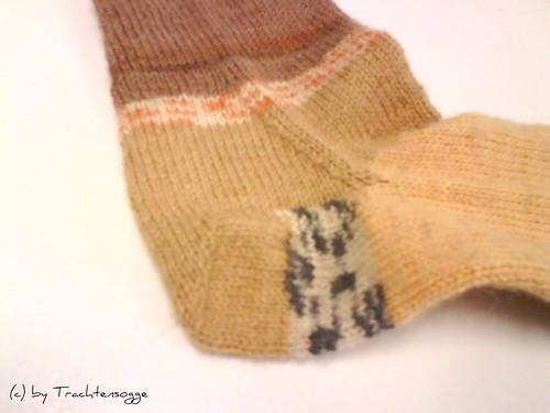 Toe-Up Socke #1 (Nahaufnahme Ferse)