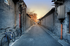 Qin Lao Lane (ZERO WANG) Tags: china road street door old city winter sunset sky panorama sun house color building tree brick history bike bicycle wall asian photography photo alley gate asia photos dusk beijing scene alleyway lane local former hutong past scenes hdr peking outdated