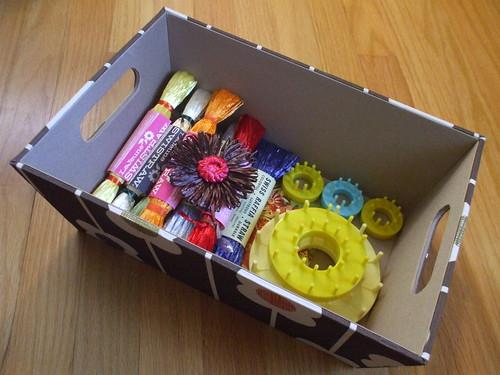Orla Kiely boxes - ribbon straw flowers