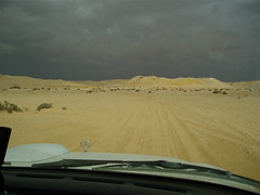 Approaching rain, surreal colours which no photograph can do justice.</p> <p>(On expedition, exploring for oil & gas.)