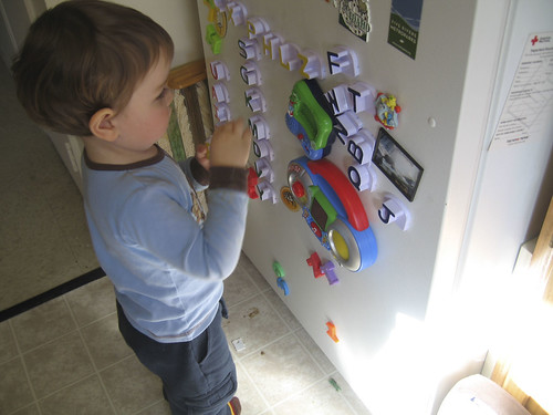 lining up his letters by color