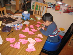 Owen busy signing Valentine's Cards