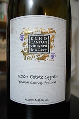 2003 Echo Canyon Vineyard & Winery Estate Syrah, Yavapai County