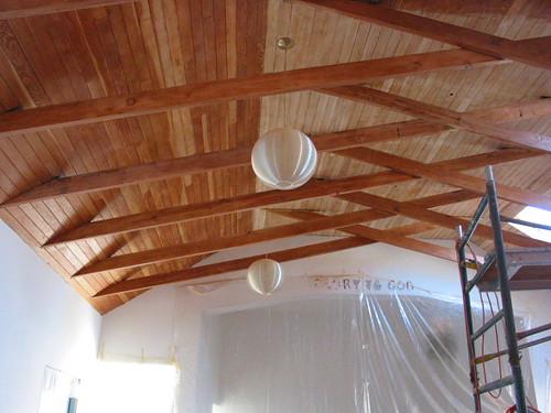 Douglas fir ceiling half bleached