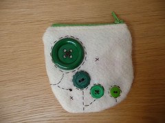 Green Buttons on Cream Coin Purse