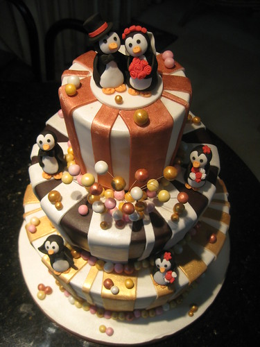 Whimsical Penguin Wedding Cake