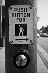 push button to strut stuff. (Orrin) Tags: sign pose disco sticker funny crossing pedestrian dancer icon button inferno ped xing saturdaynightfever