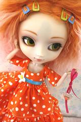 Summer Love Collection (foxifaeri) Tags: orange clothing dress handmade polkadots kawaii bjd pullip couture mymelody mohairwig