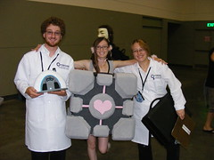 Aperture Science (gingingray) Tags: aperture cube otakon portal companion 2009 scientists scientist weighted