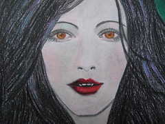 untitled vampire girl finished morning light 005 (Pinks & Needles (used to be Gigi & Big Red)) Tags: woman sexy art girl beautiful face pencil mouth hair naked nude nose sketch breasts acrylic vampire feminine teeth makeup evil lips piercing wicked cheeks fangs raven vampy lusty 2009 eyebrows busty vixen acrylicpaint kickass coloredpencil vampiress fetching untrustworthy beckoning bloodsucker asskicker suductress innocenct gigiminor gigiandbigred bustylusties