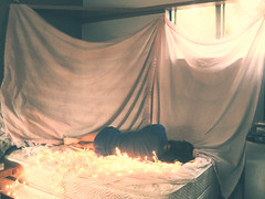 Day one hundred and seventeen. (celeste li) Tags: world girl bed escape sleep magic sheets christmaslights dreams curtains bethanie celeste 365project threesixtyfive celestephotography