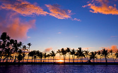 A-Bay Sunset (konaboy) Tags: sunset silhouette palms hawaii lagoon bigisland kohala waikoloa anaehoomalu 8730