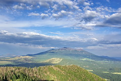 San Francisco Peaks from Kendrick Mountain Fire Lookout Tower (Al_HikesAZ) Tags: county camping camp arizona mountain clouds day sundown cloudy hiking peak az hike backpacking flagstaff backpack summit wilderness peaks sanfranciscopeaks senderismo kendrick coconino coconinonationalforest coconinocounty firelookouttower  azhike alhikesaz kendrickmountain acampanado flagstaff1 pumpkintrail kendrickmountainwilderness bullbasintrail