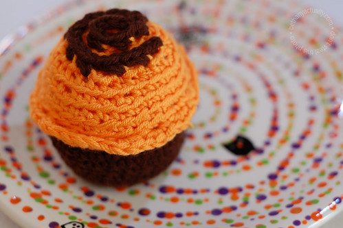 orange crocheted cupcake