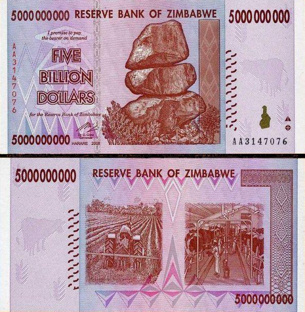 5 bilión dolárov Zimbabwe 2008