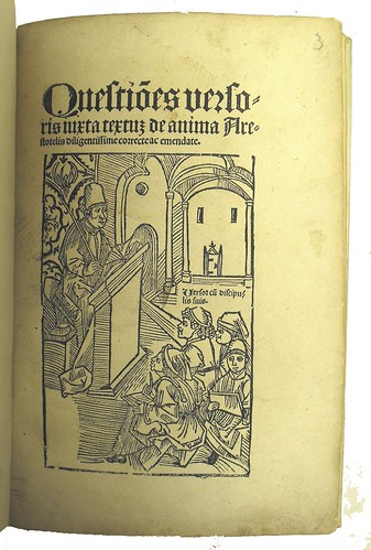 Title Page with woodcut illustration from Versoris, Johannes: Questiones Iuxta Textum de Anima Aristotelis