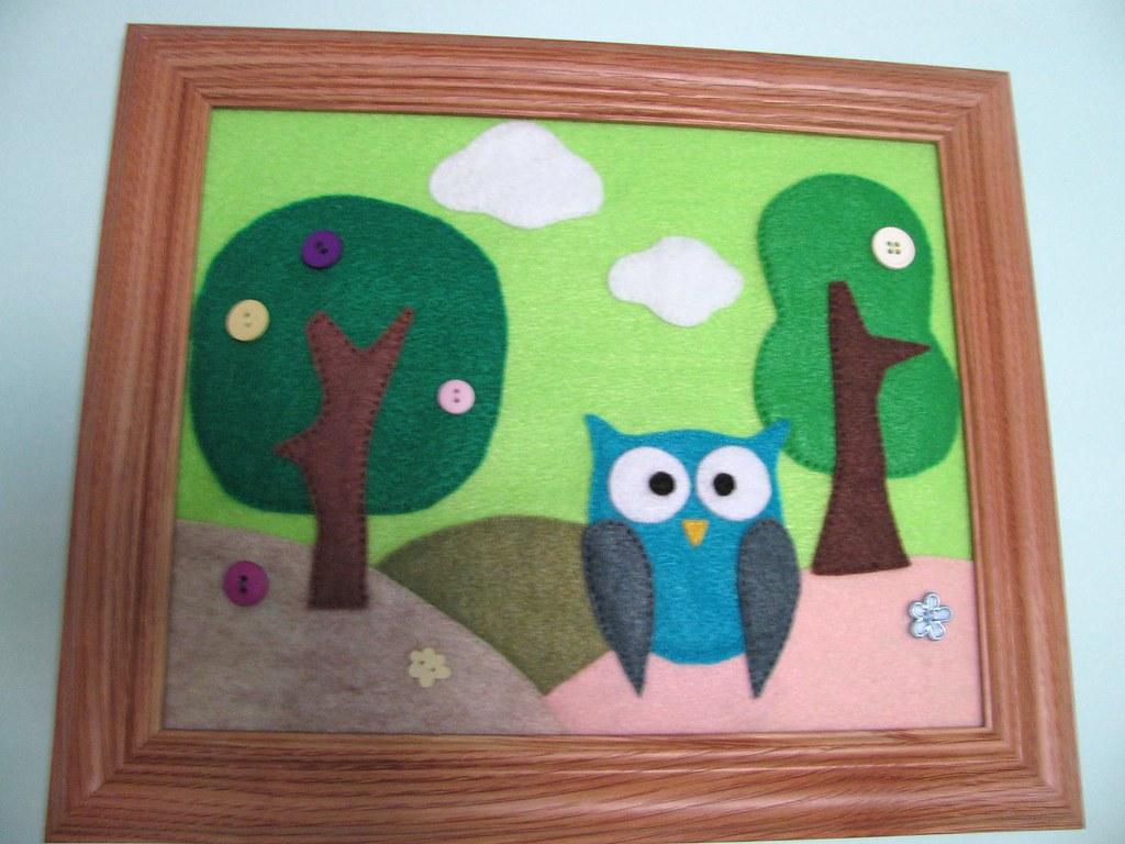 Felt Owl Nature Scene Framed Wall Decor