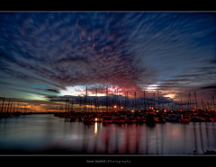 Lights of Dawn ([ Kane ]) Tags: pink red sky water clouds boats dawn manly explore qld kane gledhill kanegledhill kanegledhillphotography