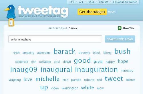 Tweetag: le parole su Twitter collegate a Obama il giorno del giuramento