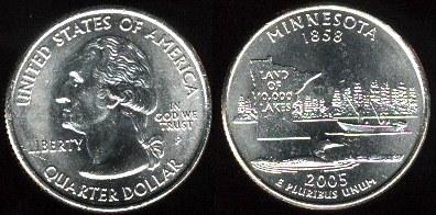 USA km#371 Minnesota State Quarter