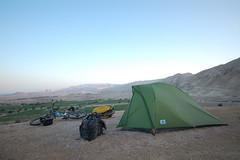Camping in the Jordan Rift Valley (tomsbiketrip.com) Tags: asia middleeast skf jordan arabia buff kona msr sponsorship schwalbe magura carradice crosso extrawheel whereisleep chainreactioncycles leisurelakesbikes