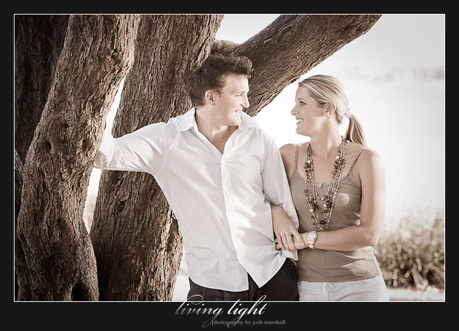 Couple under the tree. Engagement session at Speers Point, Lake Macquarie, Newcastle.
