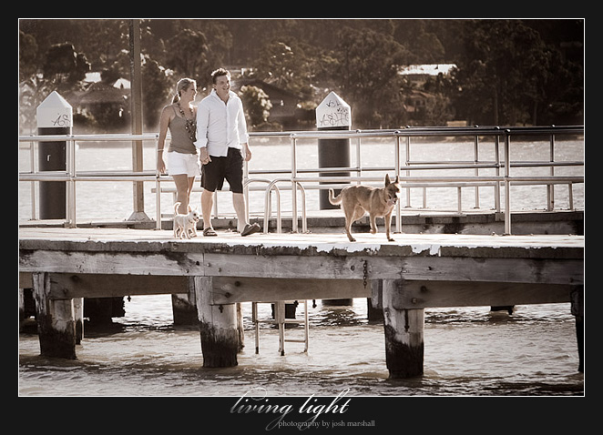 Walking back along the jetty. Engagement session at Speers Point, Lake Macquarie, Newcastle.