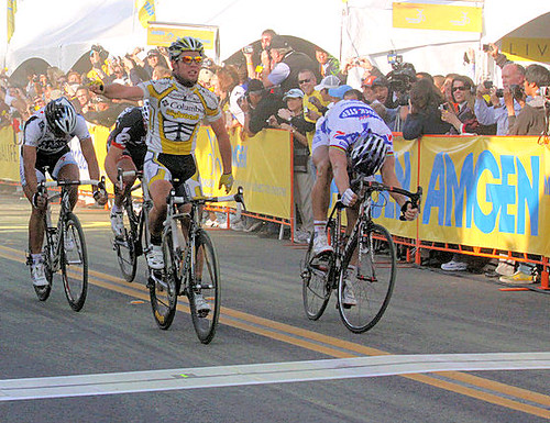 Tom Boonen just barely lost to Mark Cavendish in Clovis at the 2009 Tour of California.