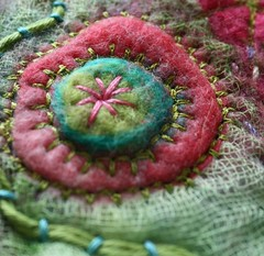 Pinks and Greens embellisher close up (jillyspoon) Tags: pink green circle stitch embroidery circles experiment blanket embroidered muslin pinkandgreen scrim couching needlefelted embellisher blanketstitch