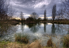 England: Northamptonshire - Wintry View (Tim Blessed) Tags: uk trees winter sky nature clouds landscapes countryside scenery lakes wetlands ponds singlerawtonemapped