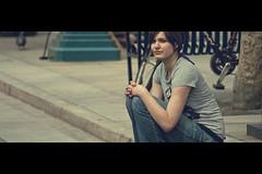 The girl from Santa Monica (- Loomax -) Tags: california street urban cute girl beautiful sunshine losangeles pavement santamonica lifestyle sunny sidewalk cinematic seated cinemascope