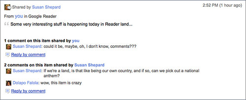 Google Reader Share Commenting