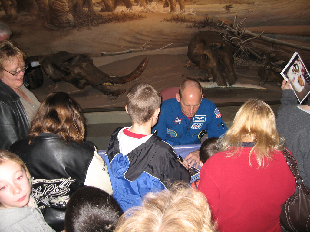 Astronaut Clayton Anderson signs autographs at UNL
