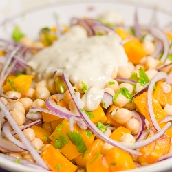 Warm Butternut Squash & Chickpea Salad with Tahini Dressing