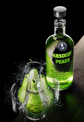 Absolut Vodka (Lode Schildermans) Tags: light green water glass table photography photo bottle break pears drink explosion cap photograph commercial alcohol pear vodka absolut splash product shatter peren absolute watersplash absolutvodka commercialphotography countryofsweden strobist