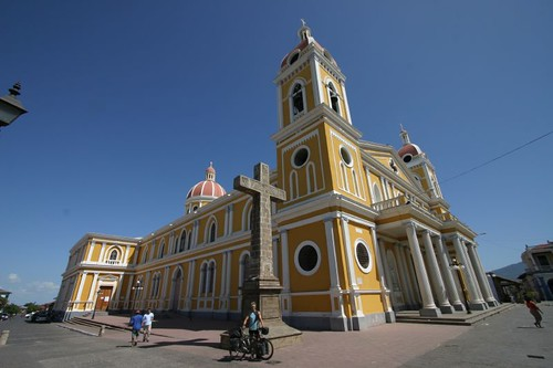 Me (tiny) in front of the cathedral in Granada, Nicaragua...