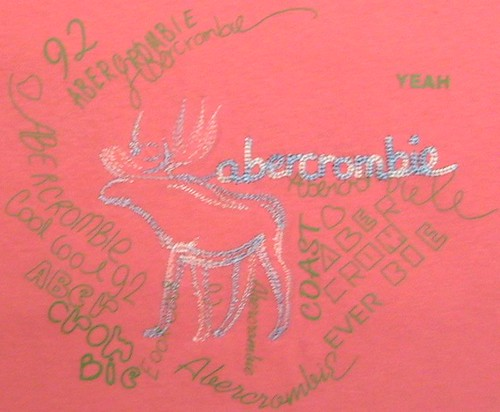 Light Pink Abercrombie T-Shirt and Embroided with Grey and Light Silver Yarn Moose with Screen on Top 2