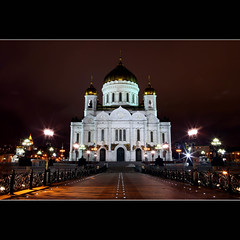 Cathedral of Christ the Saviour (JannaPham) Tags: bridge winter light church night canon wednesday landscape eos evening christ cathedral russia bokeh moscow centre explore 5d eastern orthodox markii saviour  project365 explorefrontpage   61365  jannapham