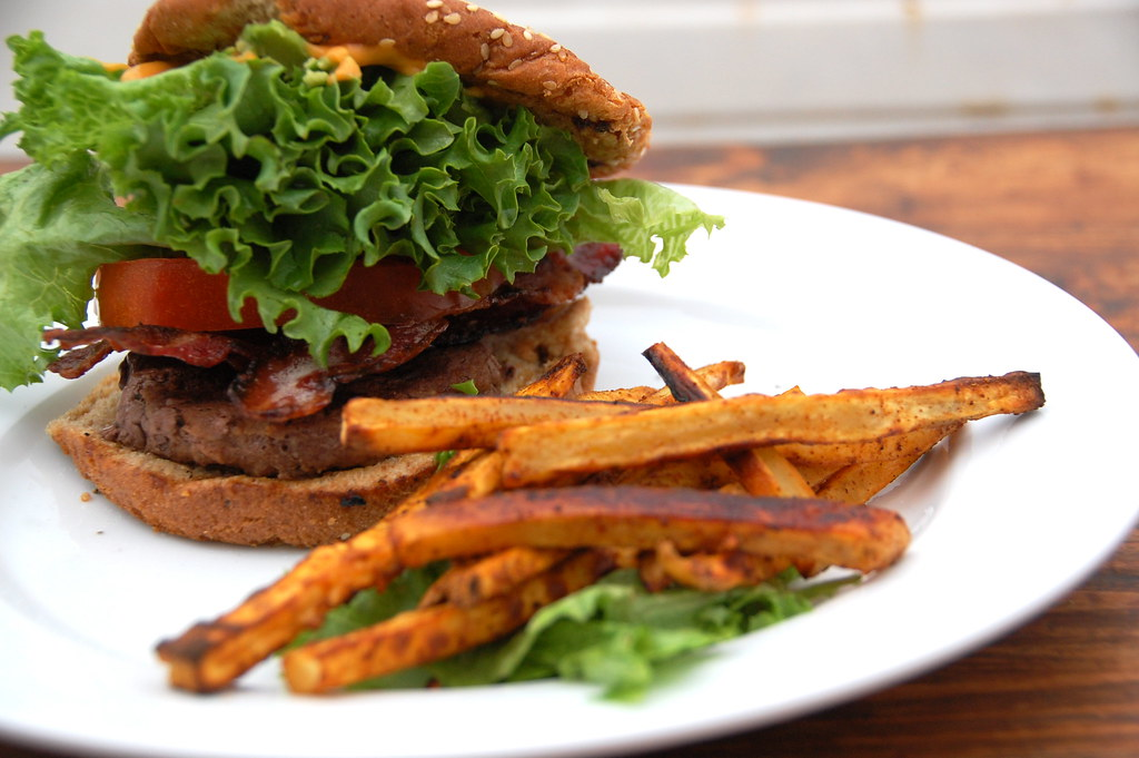a healthy BLT burger
