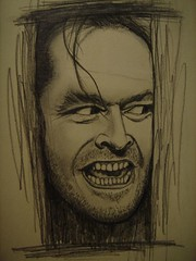 """Wendy? Darling? Light of my life, I'm not gonna hurt ya"". (Digital Owl) Tags: film moleskine hotel sketch drawing spirit killer horror murder actor stephenking jacknicholson theshining jacktorrance mge elresplandor digitalowl digiowl doodlesatwork"