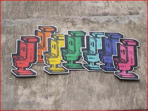 multicoloured toilets